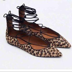 New Zara Leopard Lace Up Flats